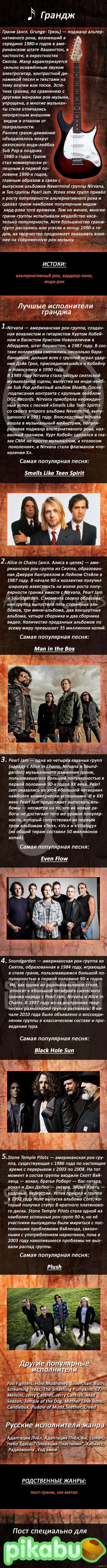 Гранж  (Жанры рок и метал музыки) Продолжение описаний жанров рок музыки. На этот раз - Гранж. Рейтинг исполнителей - мой; Рейтинг песен - Last.FM. =)