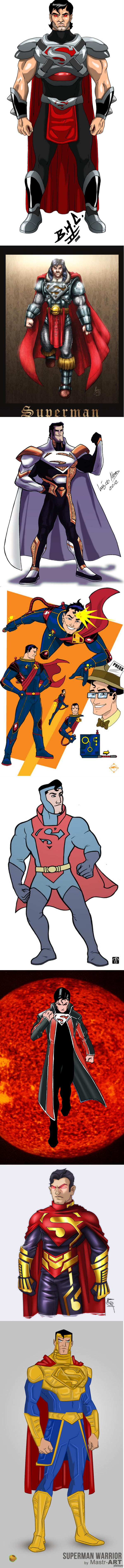 Такой разнообразный Супермэн. Очень длинный длиннопост с разными костюмами Супермэна (точно таких костюмов ни в кино, ни в комиксах не было). Склеено кривовато из-за неопытности.