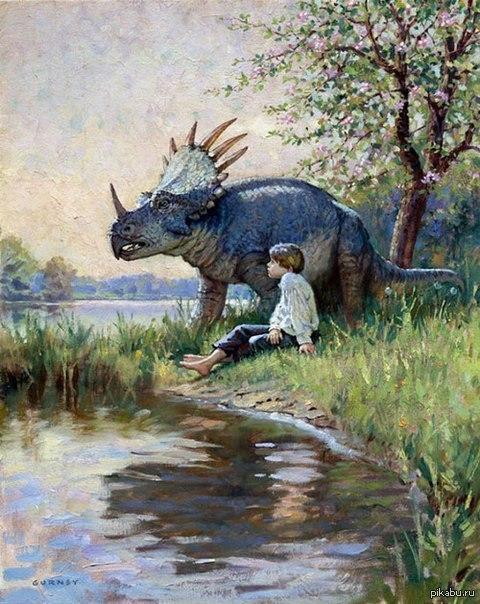 Малыш и трицератопс ХХ век, масло, неизвестный художник
