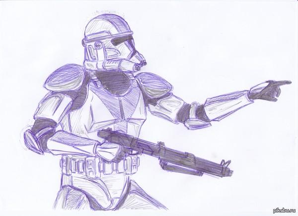 как нарисовать клона звездных войн карандашом малыши