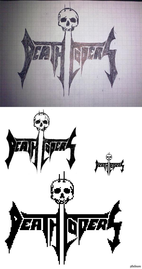 Рождение одного логотипа рисовка подшофе -> фотка на телефон -> обработка в фотошопе -> пиксельная отрисовка