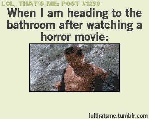 Как я иду в ванную, после того, как посмотрел ужастик