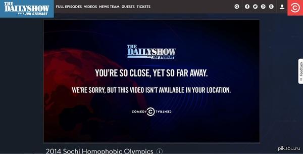 Санкции? Зашел тут на дэйли шоу, а ни одно видео не открывается. Неужели это все из-за Путина? :)