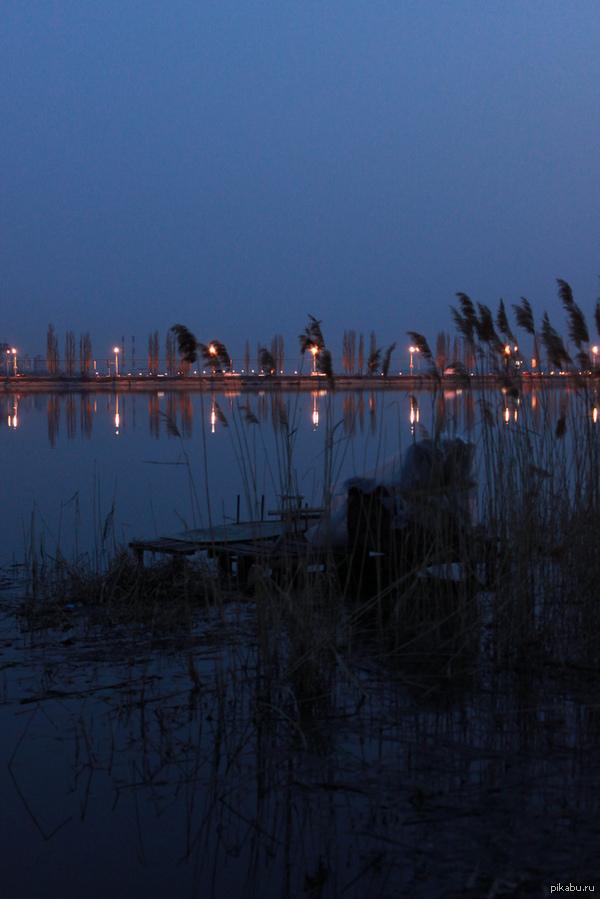 Место для медитации. Рыбацкие кресла и стулья на берегу Воронежского водохранилища. Стоят круглый год в любую погоду. Я сначала своим глазам не поверила. Хорошая идея!
