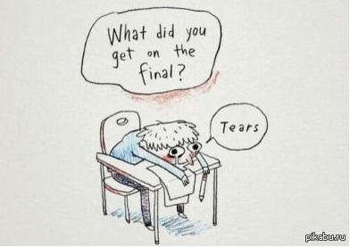 """Когда все экзамены уже сданы... Перевод: """"-И что ты получил в итоге? -Слезы"""""""