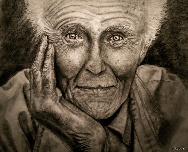 Добродушный старик Карандаш, белая гелевая ручка, ластик.