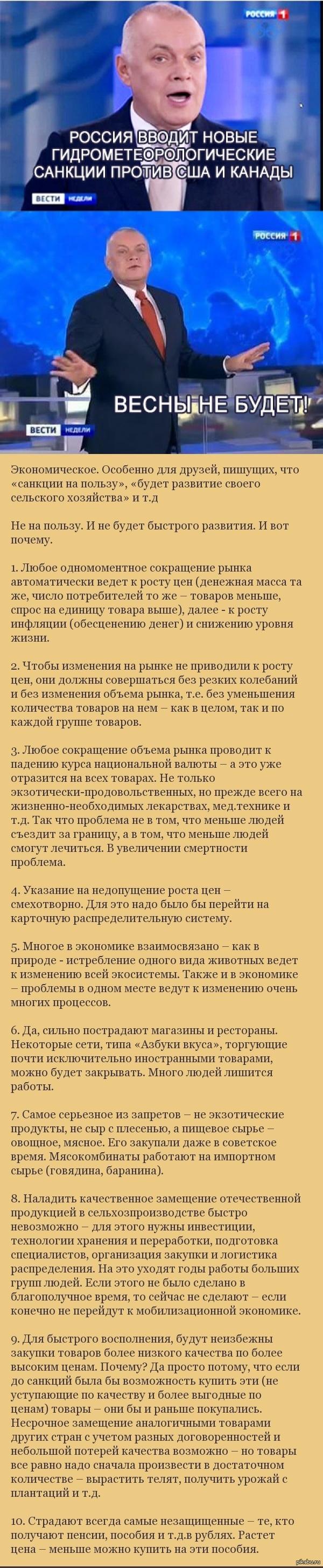 """Десять причин почему """"обратные санкции"""" не пойдут нам на пользу"""