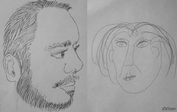 Вот такая мы красивая пара Устроили с любимым вечер творчества. Задача - нарисовать друг друга. Вот что из этого вышло.