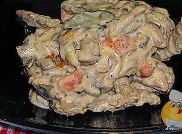 Мне было очень страшно... я ,было,собралась убежать..с криками...на поверку оказалось-салат с говядиной и грибами...