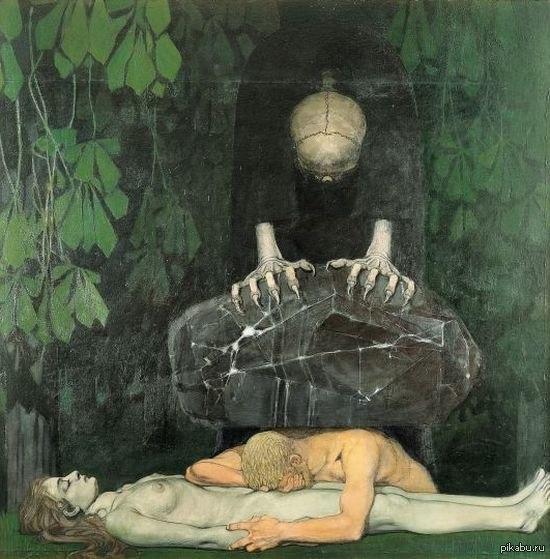 Буквально раздавлен горем Oskar Zwintscher — «Grief» («Горе»), 1898