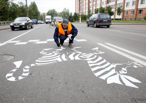 В Витебске на пешеходных переходах появились необычные зебры