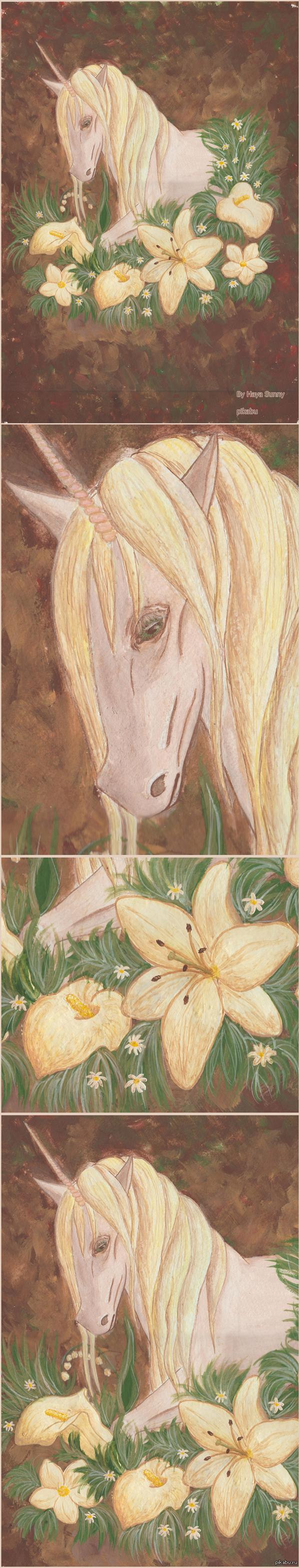 Образ из сна. Этот образ я скопировала из сна. Основное рисовала гуашью, цветы акрилом.