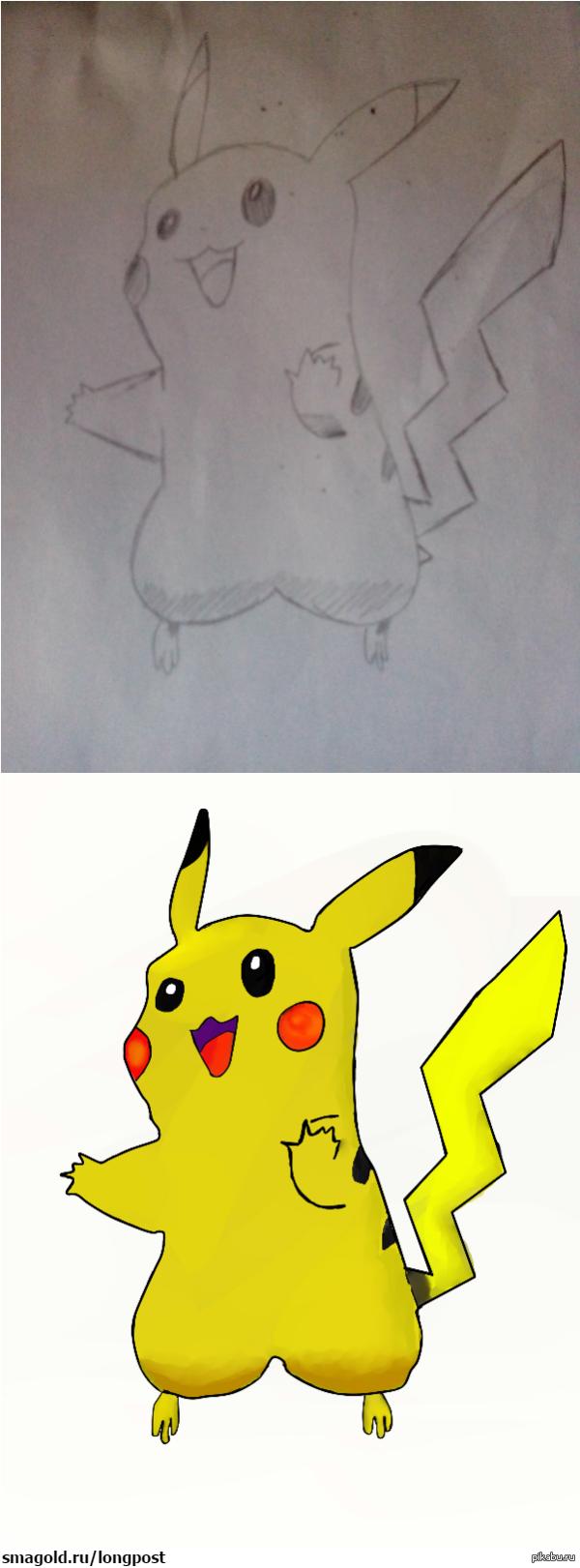 Сестра нарисовала пикачу, а потом обработала в paint tool sai