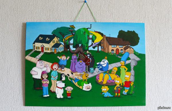 Пятничный рисунок Рисовала подруге на день рождения, Роджер был добавлен по ее желанию)