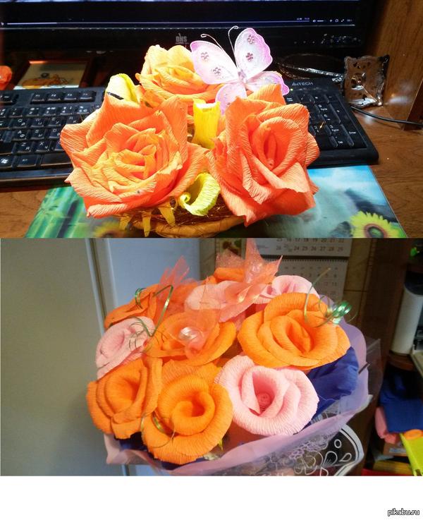 Цветы из креповой бумаги Пробую делать такие букеты, их проще и быстрее делать,чем например вышивать, пусть даже маленькую вышивку, но на ее оформление больше уходит материалов