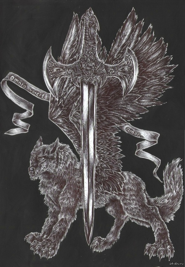 """""""Любовь побеждает все"""". Шариковая ручка. Самоучка. Шариковая ручка плюс гуашь (фон). Рисовалось в подарок одному хорошему человеку. Симуран - заступник , меч - символ защиты от злых сил."""