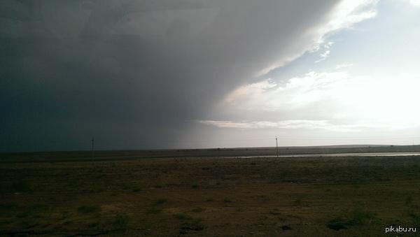 Вот так меня встретила Астрахань четко на границе Астрахань-Калмыкия