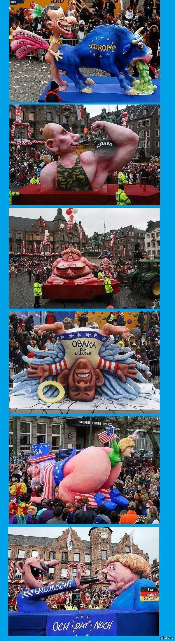 """Карнавал в Дюссельдорфе-2014 Один раз в год немцы, что называется, """"отрываются по полной"""" — от души смеются над политиками, как своими, так и чужими."""