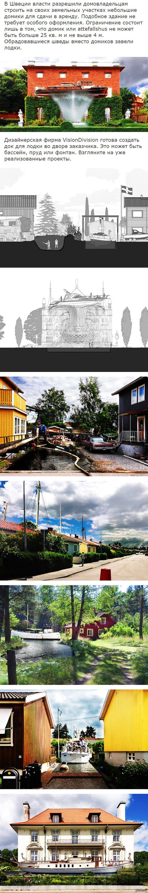 Необычный гостевой домик в Швеции Власти разрешили гражданам строить небольшие домики на участках дабы селить гостей. Кое-кто решил скреативить.
