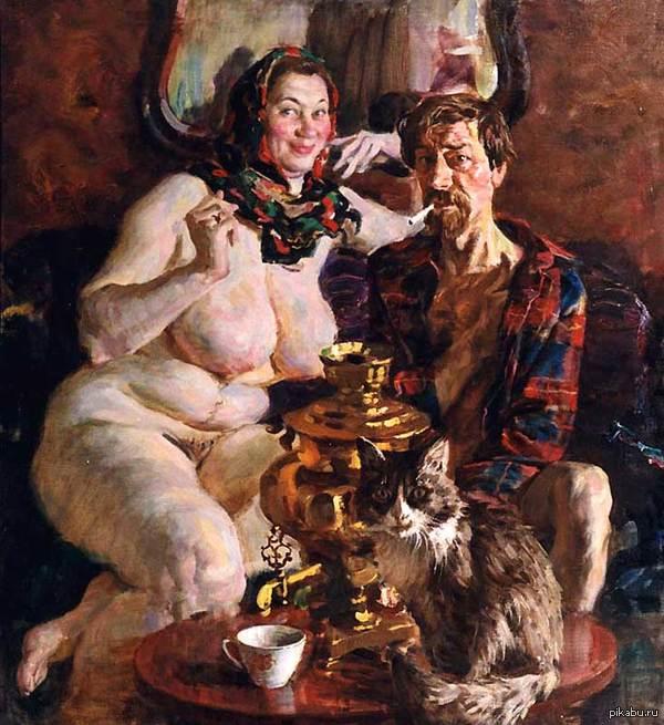 Картина Виктора Ляпкало. Обратите внимание на выражение лица мужика и кота.
