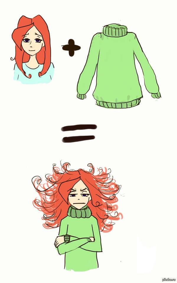 Пришла пора теплых свитеров! Надеюсь, девушки меня поймут)  Рисовашки мои :З
