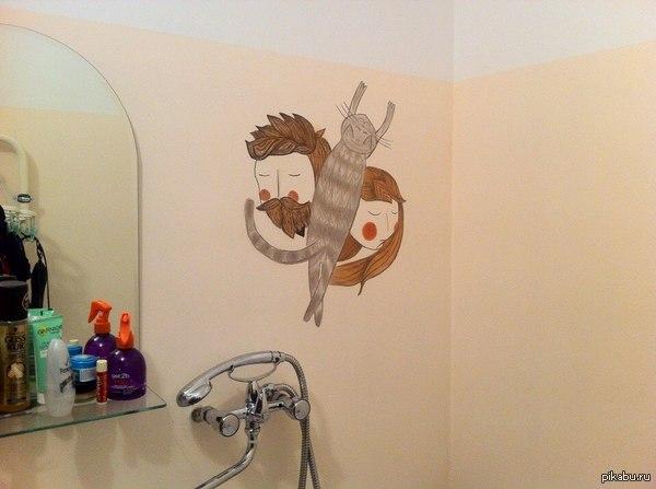 """Прихожу домой с работы а тут """"Графити"""")))  Картиня """"Я, Кот и Она""""."""
