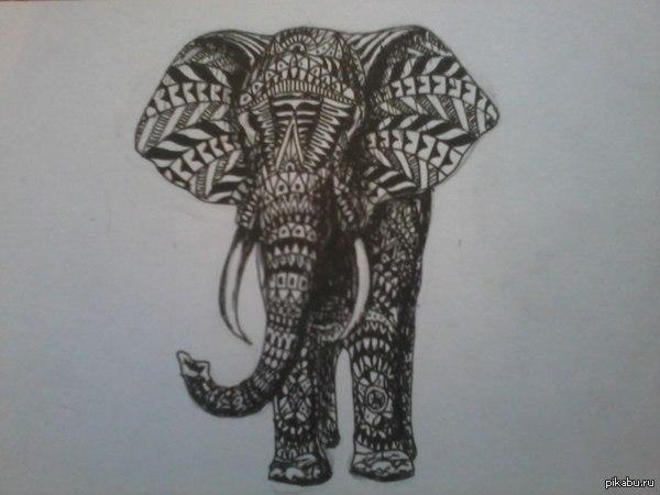 Моя первая работа Решил заняться татуировками, как хобби, это мой первый заказ, тема слона не нова, но клиент доволен, в выходные будем бить партак=DD
