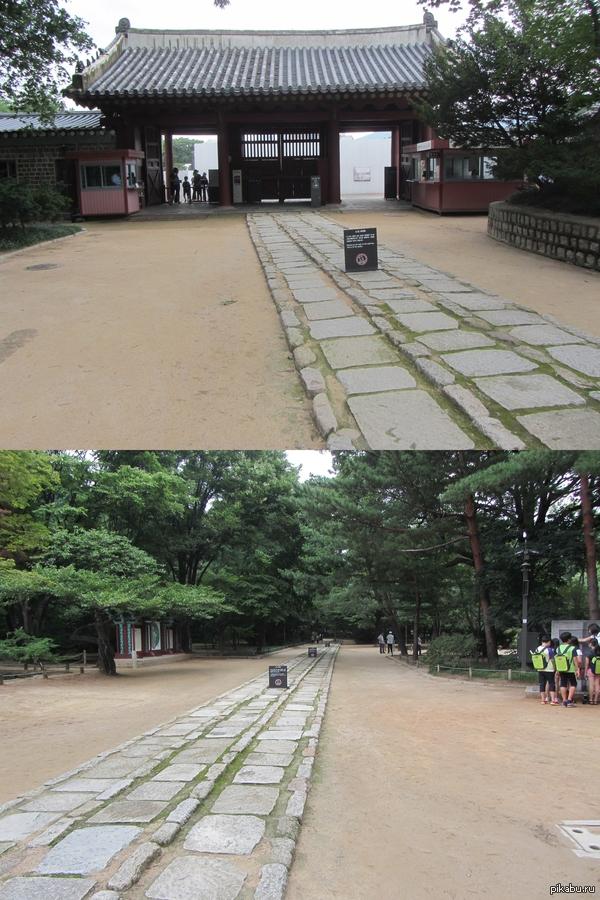 "Дорожка духов в храме Чонмё. Корея. ""Please do not walk on this pathway. This is for the spirits."""