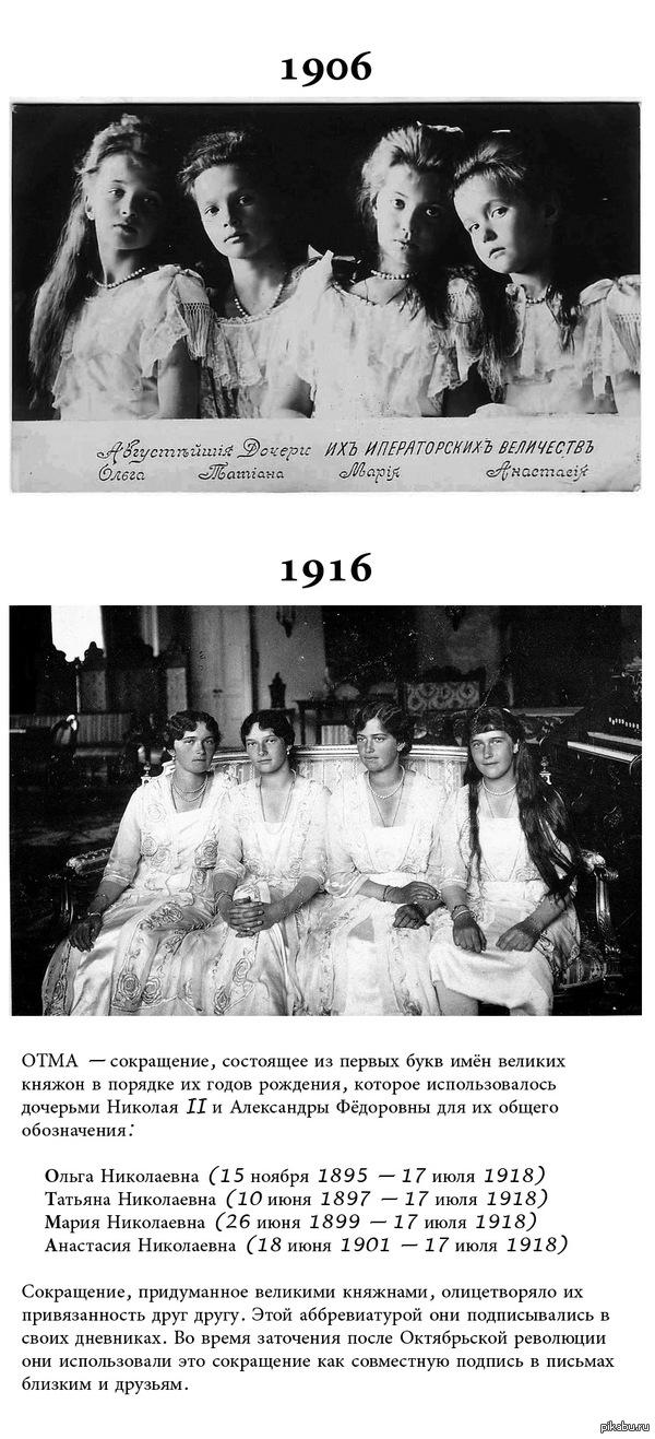 Августейший дочери их императорских величеств Слева направо: Великие княжны Ольга, Татьяна, Мария и Анастасия