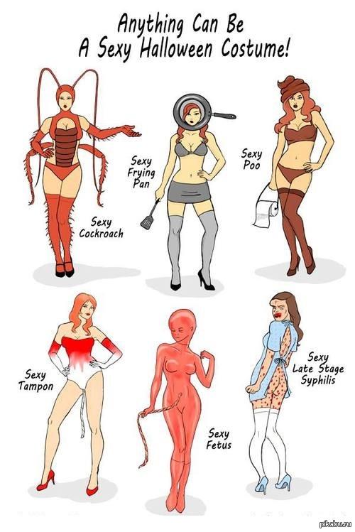 Любой костюм может быть сексуальным перевод  1 Сексуальный таракан  2 Сексуальная сковорода  3 Cексуальная какашка  4 Сексуальный тампон  5 Сексуальный эмбрион  6 Сексуальность последней стадии си