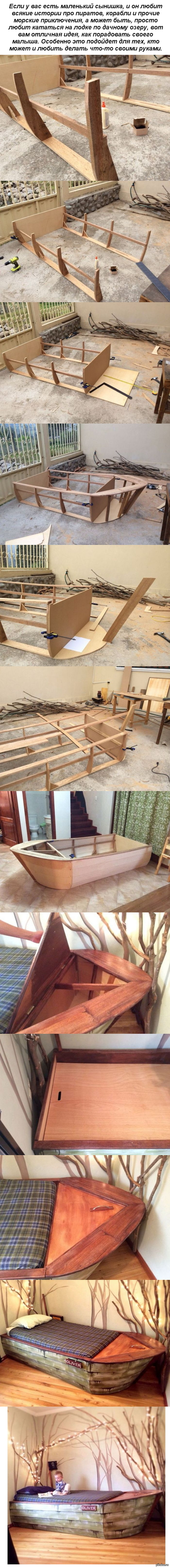 Детская кровать в виде лодки своими руками У автора проекта на это ушла одна неделя.