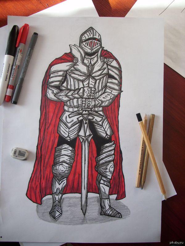 Мой рыцарь тьмы , пусть и не очень эпичный . А3 , маркеры , карандаши.
