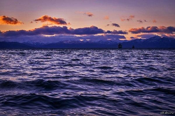 Камчатская природа Редкое явление - фиолетовый закат, Камчатка 26.10.2014 г.