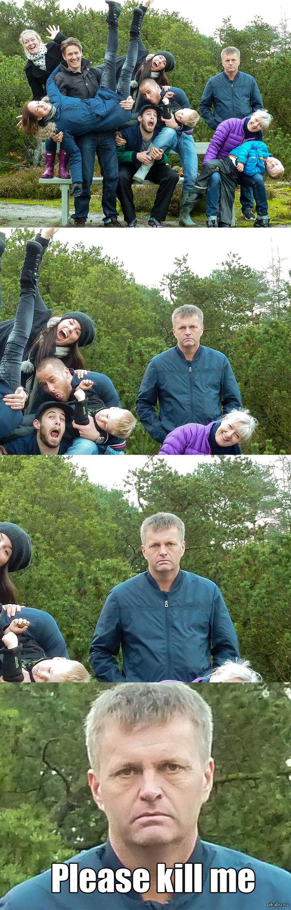 """Моя сестра захотела веселую, семейную фотографию Перевод: """"Пожалуйста, убейте меня"""""""