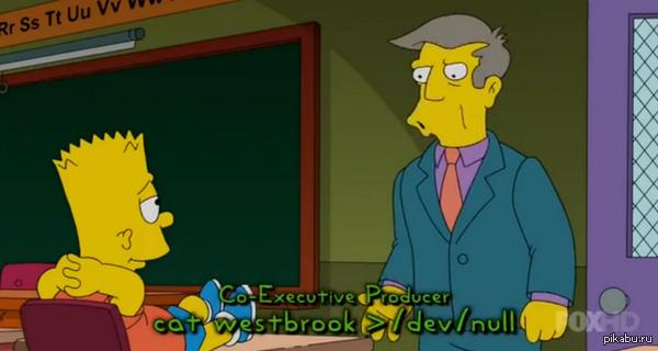 """Linux в Симпсонах S26E04 cat - выводит содержимое файла. /dev/null - некое """"ничто"""", либо в данном случае """"никуда"""" =). Что есть westbrook - не известно)"""