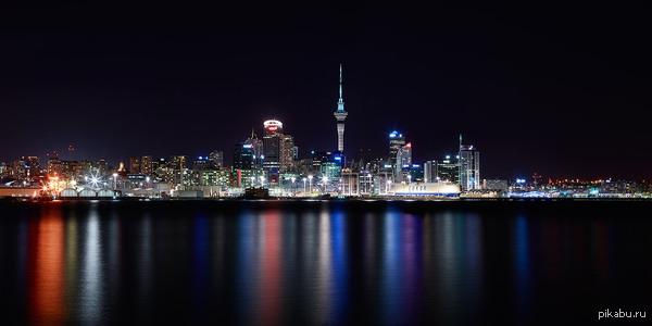 Ночной Окленд,Новая Зеландия фото большого размера
