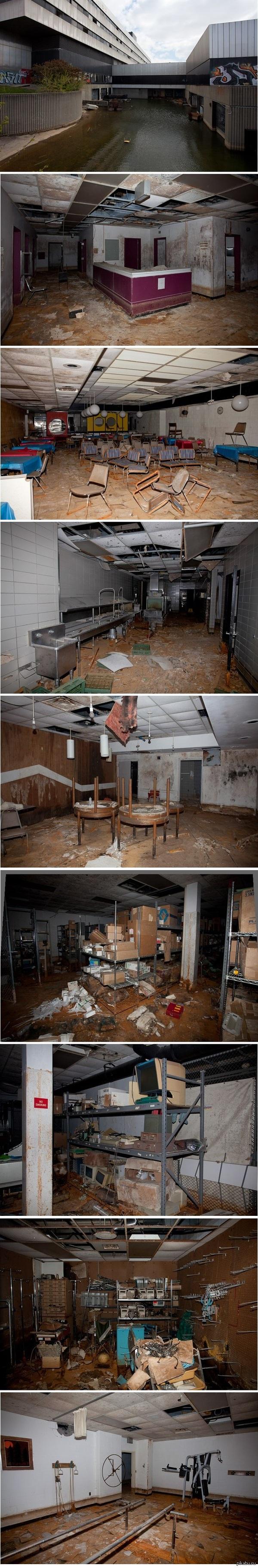 Заброшенная больница United Southwest General Hospital. Детройт, штат Мичиган, США.  Закрыта в 2006 году.     При просмотре последнего фото атлеты испытают неописуемое разочарование.