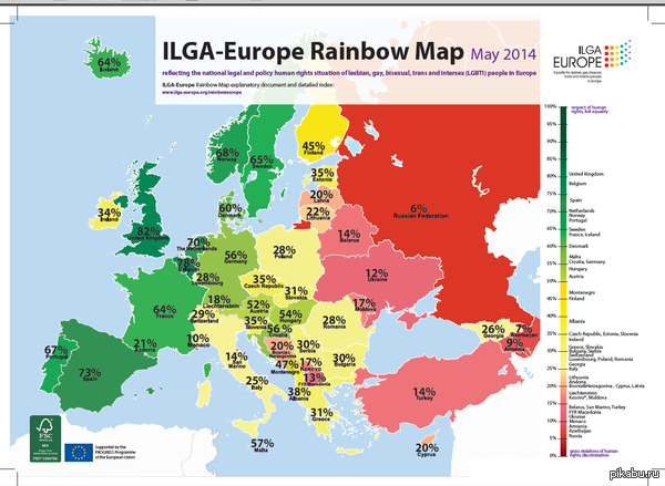 Карта Европы по уважению прав ЛГБТ из просторов интернета