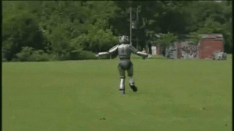 Киберчеловек учится летать :)