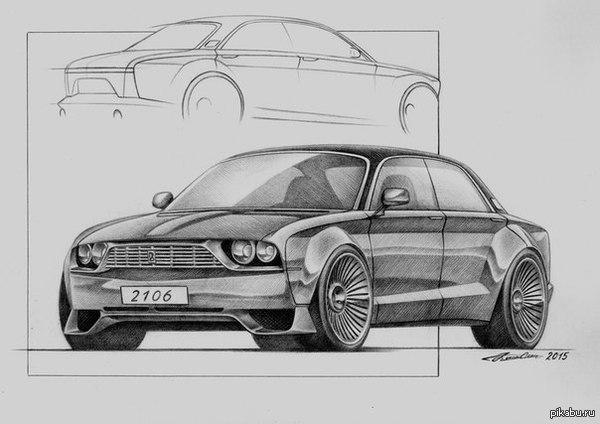 Ваз 2106 - рисунок карандашом | Автомобили, Ваза, Рисунок