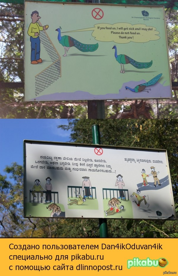 Вот такие внушительные предупреждения! Побывал в Индий, это стояло в зоопарке (продолжительность зоопарка 3 км)