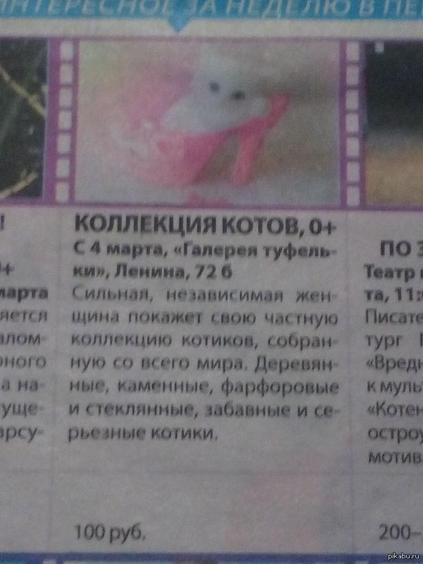 Объявление в газете Кто то явно  любит котиков