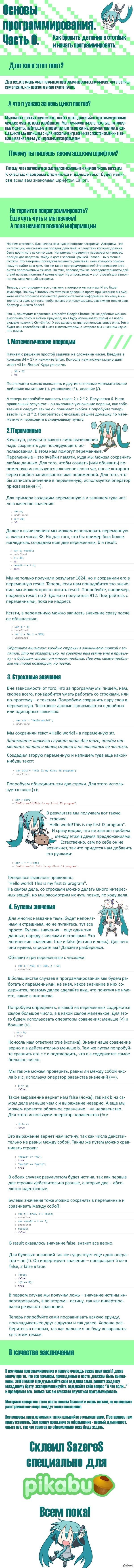 Основы программирования. Часть 0. Пост для тех, кто хотел научиться программированию, но не знал с чего начать. Это мой дебют и как пикабушника, и как учителя, так что жду советов и критики)