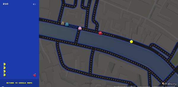 Шутка от Google с 1 апреля решил поздравить своих пользователь Google в своем приложении Google Maps. Здесь можно поиграть в pacman'а.