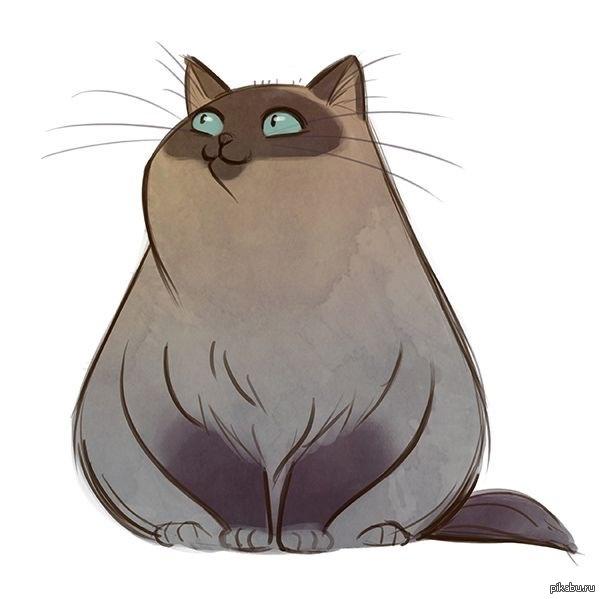 Нарисованные коты толстые