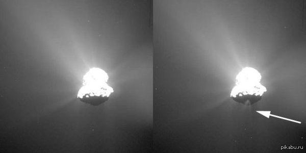 Rosetta зафиксировала выброс вещества Кометы Чурюмова-Герасименко По мере приближения к Солнцу комета Чурюмова-Герасименко греется все больше. Идет выброс водных паров, газов, пыли — все это выбрасывается в космос.