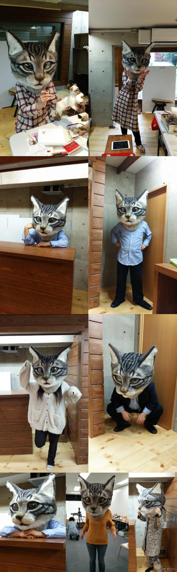 Гигантская голова кота В Художественном музее Метрополитен в Токио Housetu Sato и его студенты-художники представили пугающе реалистичную гигантскую голову кота из войлока.