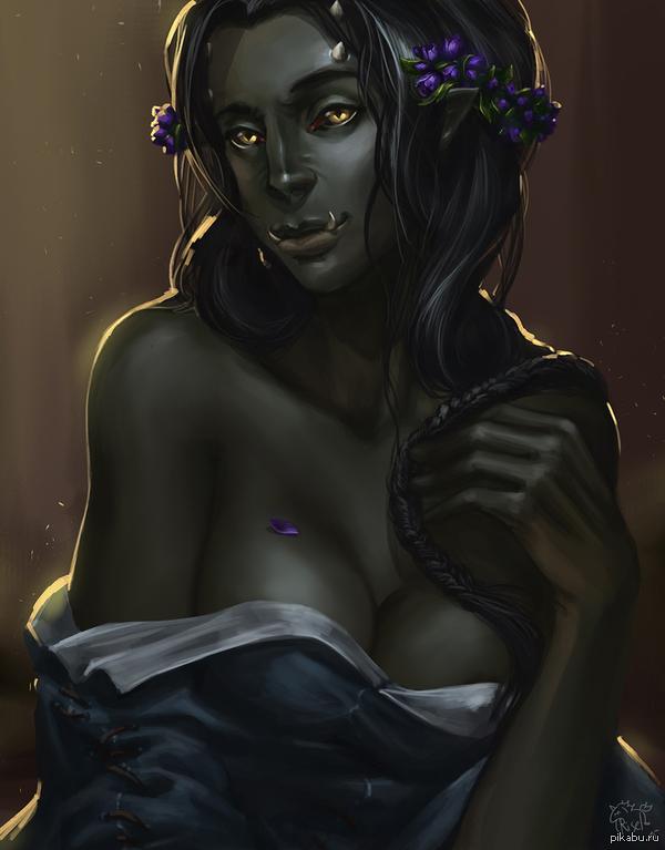 Давно хотела нарисовать в подобном образе. Выложу на свой страх и риск. А то все любят и рисуют одних сисятых эльфиек. Ну не все же орки воины, и живут в отд. поселениях. Потом в процессе вспомнила историю Серого Принца (TES:IV) Его мать была орком, а отец - человеком-вампиром.
