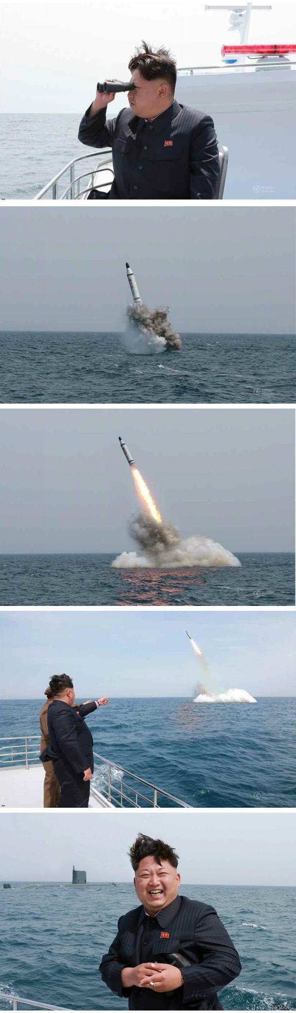 Северная Корея. Испытания баллистической ракеты подводного базирования Говорят им жрать нечего, тотальные санкции. Может и так, но это не мешает им клепать такие вещи