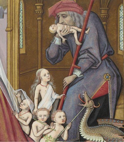 """""""Трудности отцовства или как убедить детей больше не тыкать в дракона палкой."""" """"Сатурн пожирает своих детей"""". Франция, 1496-1498 гг. Художник Robinet Testard."""